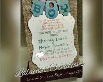 Burlap Baby Boy/Girl Shower Invite