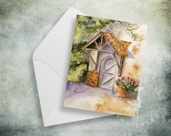 Come In Note cards - Blank - Cottage Door, green and gold, watercolor print, with matching A2 envelopes