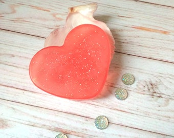 Glitter soap Red heart gift sparkly love spell soap gift heart for her valentines day gift choose scent soap gift idea sister soap daughter