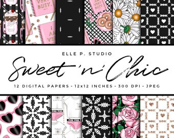 Sweet n' Chic Digital Paper Set / Digital Scrapbook Paper / Illustrated Paper / Wallpaper