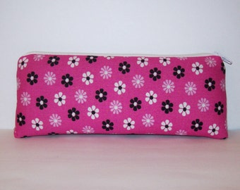 """Pipe Pouch, Pipe Case, Pipe Bag, Padded Pouch, Hippie Purse, Stoner Gift, Pink Flowers Pouch, Glass Pipe Cozy, Vape Pen Pouch - 7.5"""" LARGE"""