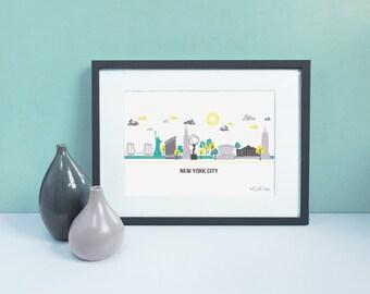 New York Skyline / Travel Art / Manhattan Decor / Retro City Print / NYC Skyline / New York Cityscape / City Illustration / NYC Illustration