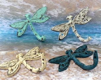 Dragonfly Cast Iron Mini Set 4 Wall Hooks Shabby Elegance Beach Blue White Lagoon Teal Off White Leash Key Potholder For Potting Shed Pool