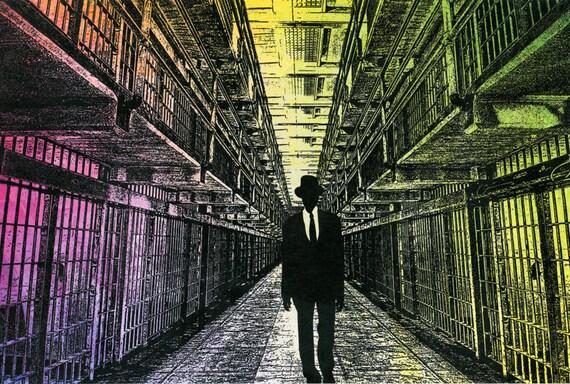 Ghost man of Alcatraz Prison original art print supernatural man in black original digital artwork modern sci fi wall art