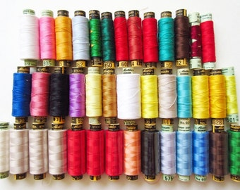 Mettler Embroidery Thread Lot 40 Spools Multi Color Merc Cotton, New & Used