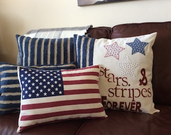 American Flag Pillow Cover, star and stripe pillow,Throw Pillow, Decorative Pillow,Traditonal Americana Flag Pillow, Patriotic Pillow
