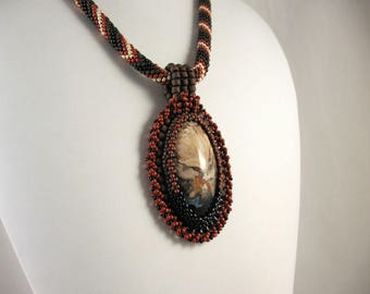Embroidered Petrified Indonesian Palm Root Pendant on Bead Crochet Necklace