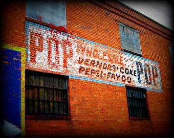 Fine Art Urban Detroit Photography We Call It Pop Verners Coke Pepsi Faygo Brick Wall in Eastern Market