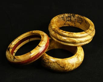 Spalted maple bangle bracelets
