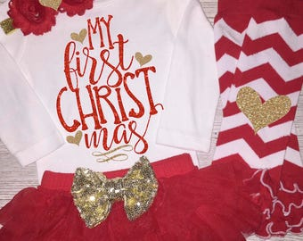 Baby Girl First Christmas Outfit | Baby's 1st Christmas | Girl's Christmas Dress | Christmas Clothing | Christmas Tutu | Coming Home Outfit