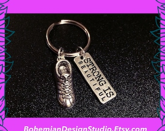Gift for runner, trainers keychain, 3D running shoe keyring, marathon gift, motivational fitness charm, strong is beautiful, UK