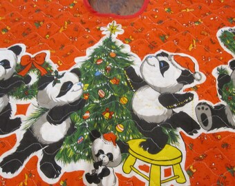 PANDA machine quilted  christmas Tree Skirt 36 inches vintage red panda holiday design
