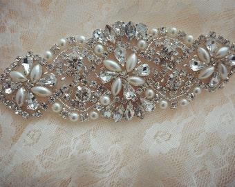 bridal sash applique,rhinestone crystal applique, beaded belt sash, wedding accessories, bridal belt