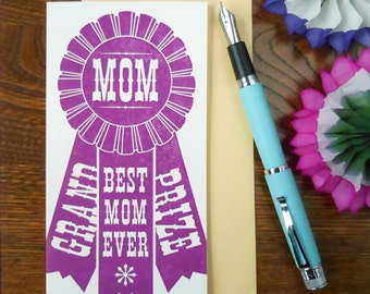 letterpress grand prize mom ribbon card county fair award winning best mom ever