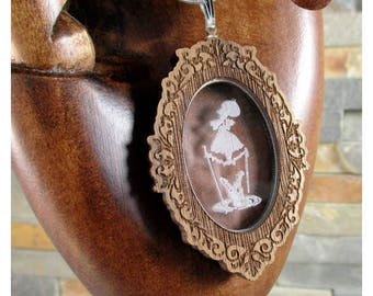 Tightrope Girl, Sterling Silver and Walnut Necklace,  Haunted Mansion Inspired,, 5th year anniversary, Wood Anniversary