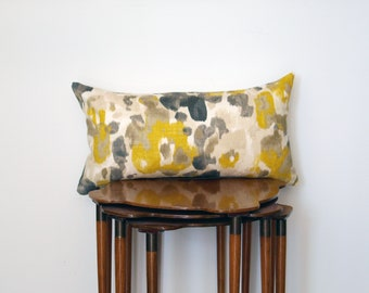 Graphic Abstract Floral Print Lumbar Pillow Cover, in Mustard, Beige + Charcoal Grey