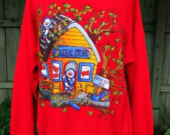 vintage 90s snowbird sweatshirt m l birds flying south puff paint blue birds general store