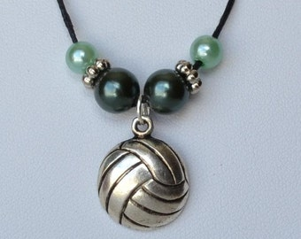Volleyball necklace with volleyball charm in antique silver plated metal on 1mm black wax cotton cord