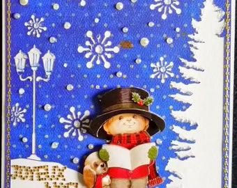 Card 3D little boy singing Christmas carols