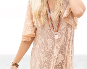 SOLD OUT Paisley Bell Sleeves Dress in Champagne