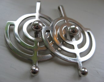 Planet Willy Winnaess for David Andersen  Norway. Two silver pendants. Mid century modern.