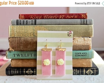 30% OFF SALE Pretty pink velvet earrings with ivory rose cabochons and golden metal accents, Taffy Treats