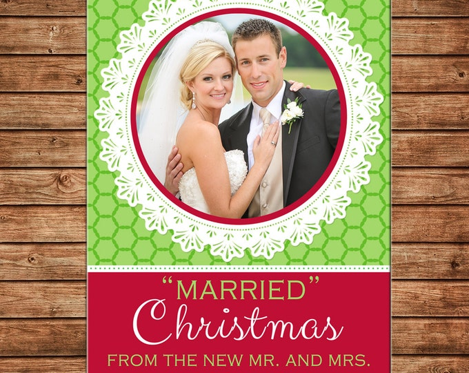 Christmas Holiday Photo Card Lace Clover Print - Can Personalize - Printable File or Printed Cards