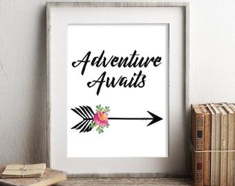 Adventure Awaits Print, Printable Art, Nursery Decor, Typography Printable