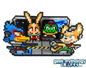 Star Fox Nintendo Perler Bead Sprite 3D Scene Collage