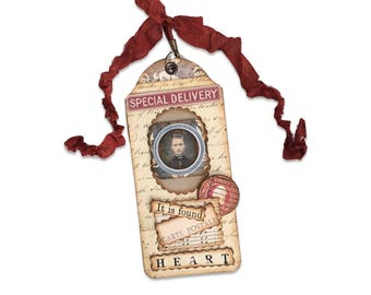 Collage Art Tag, Assemblage Art Gift Tag, Mixed Media Collector Tag, One of a Kind Gift Tag, Special Delivery, Stocking Stuffer Idea,