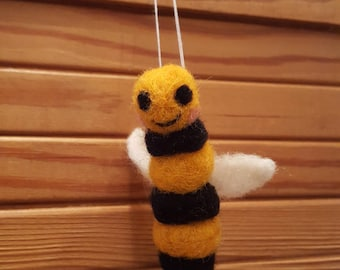 Cute needle felted Bee hanging decoration, adorable felted bee, Cute felted bee decoration for home, bee lover gift, OOAK felted Bee deco