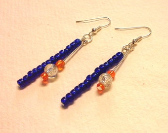 Blue and Orange Glass Beaded Pin Earrings
