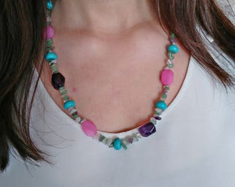 Multicolor ethnic necklace, gemstone necklace, amethyst necklace, turquoise necklace, pink agate necklace, artisan necklace, boho, hippie necklace, summer