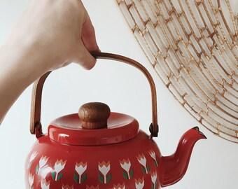 Vintage Large Red Floral Enameled Teapot   Enameled Teapot   Floral Teapot