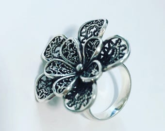 Fine silver 950 from Peru ring for women and girls unique - Filigree