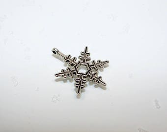 """""""Snowflake"""" charm in silver. (970008)"""