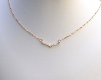 Handmade CZ And Rose Gold Choker, Rose Gold Choker, Cubic Zirconia Choker, Rose Gold Necklace, Pink Necklace, Wedding Jewelry, N043