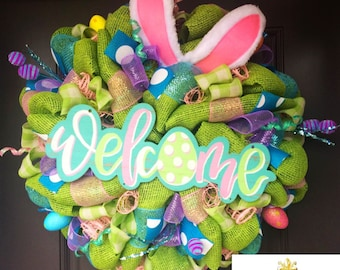 Easter Bunny Wreath, bunny bottom wreath, Easter Decor, Easter Wreath, Spring Wreath, Bunny wreath, Front Door Wreath