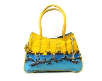 Ocean Print Fabric Purse | 1980s Tapestry Bag | Sailboats and Dolphin Print Nautical Shoulder Purse | Yellow and Blue Beach Tote