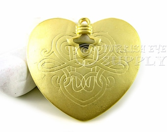Large Gold Heart Pendant,  22K Gold Plated Large Heart, Turkish Jewelry
