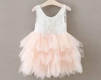 Blush Flower Girl Dress Lace Flower Girl Dress Boho Flower Girl Dress Toddler Flower Girl Rustic Flower Girl Dress Tulle Flower Girl Dress