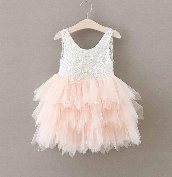 Blush pink tulle flower girl dress white lace flower girl mightylinksfo