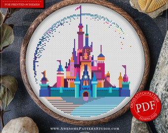 Modern Cross Stitch Pattern of Disneyland for Instant Download *P118 | Easy Cross Stitch| Counted Cross Stitch| Disney Cross Stitch