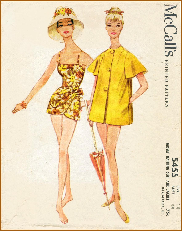 1960er Jahre 60er Jahre Repro Badeanzug Schnittmuster ein