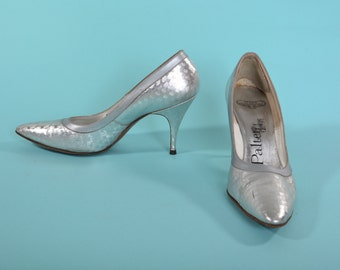 Vintage 1960s Silver Wedding Shoes - Palter Debs High Heel Stiletto - Bridal Fashions Size 7.5 N