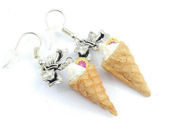 Earrings ~ grapefruit and whipped cream Ice Cream Cone