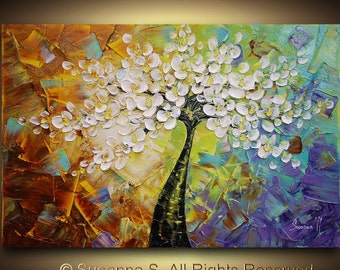 ORIGINAL Large Abstract Contemporary Fine Art Flowers Tree Impasto Landscape Cherry Blossom Modern Palette Knife Painting by Susanna 36x24