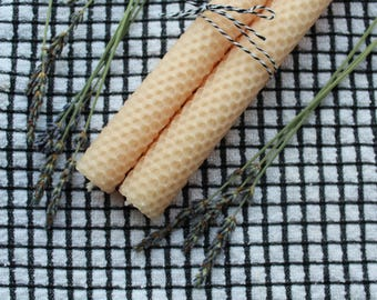 Pure Beeswax Taper Candles in Natural Peach Color with Honeycomb Pattern