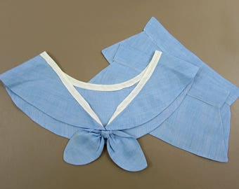 Vintage childs blue collar and cuff - Sailor collar - blue chambray