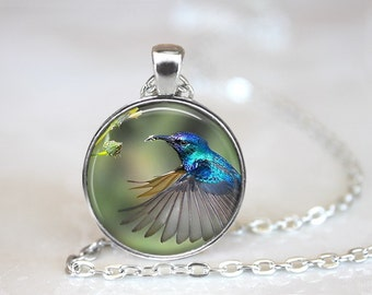 Hummingbird 4 Glass Pendant/Necklace/Keychain